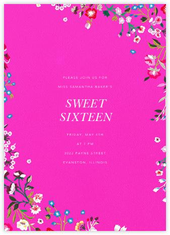 Embroidered Floral - Shocking Pink - Oscar de la Renta - Sweet 16 invitations