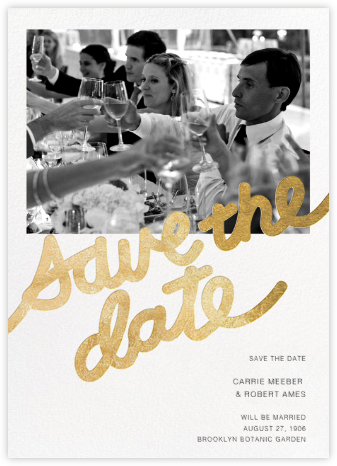 Love Letter (Photo Save the Date) - Gold - Paper + Cup - Gold and metallic save the dates