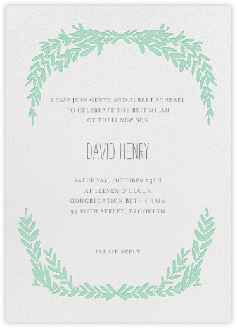 Laurel in Love - Sea Green - Mr. Boddington's Studio - Religious invitations