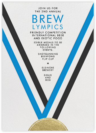 Medal - Electric Blue - Paperless Post - Sporting Event Invitations