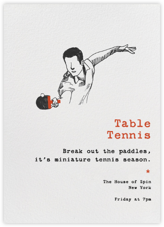 Table Tennis - Paperless Post - Sporting event invitations