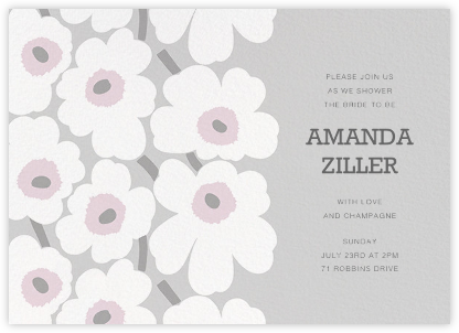 Unikko (Horizontal) - Gray - Marimekko - Bridal shower invitations