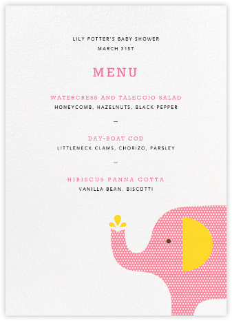 Modern Elephant (Menu) - Pink - Petit Collage -