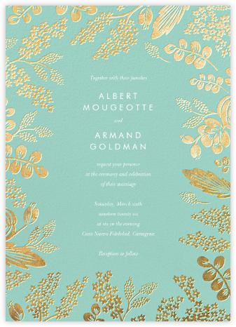 Heather and Lace (Invitation) - Celadon/Gold | null