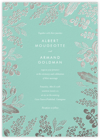 Heather and Lace (Invitation) - Celadon/Silver | null