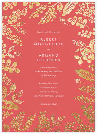 Heather and Lace (Invitation) - Coral/Gold - Rifle Paper Co. - Wedding Invitations