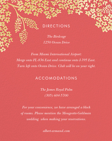 Heather and Lace (Invitation) - Coral/Gold - Rifle Paper Co. - All - insert front