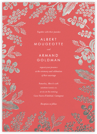 Heather and Lace (Invitation) - Coral/Silver | null