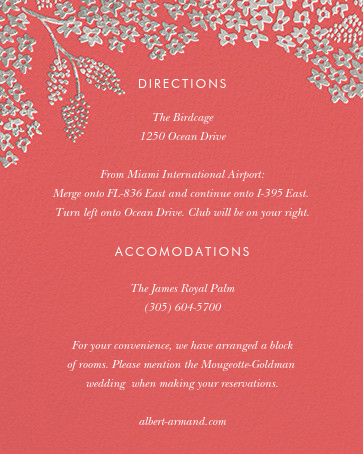 Heather and Lace (Invitation) - Coral/Silver - Rifle Paper Co. - All - insert front