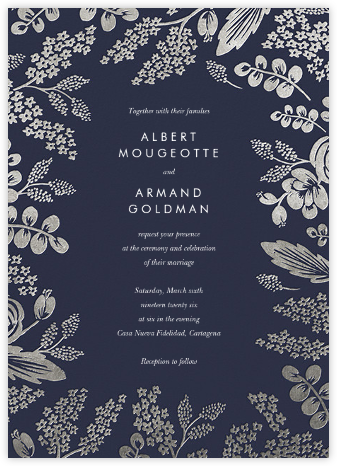 Heather and Lace (Invitation) - Navy/Silver - Rifle Paper Co. - Wedding Invitations