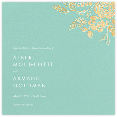 Heather and Lace (Save the Date) - Celadon/Gold | null
