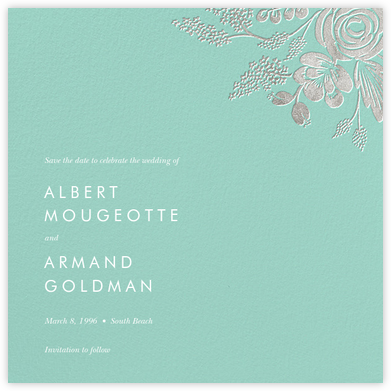 Heather and Lace (Save the Date) - Celadon/Silver - Rifle Paper Co. - Save the dates