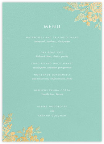 Heather and Lace (Menu) - Celadon/Gold | null