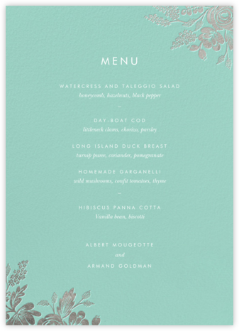 Heather and Lace (Menu) - Celadon/Silver | null