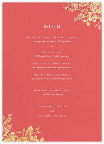Heather and Lace (Menu) - Coral/Gold | null