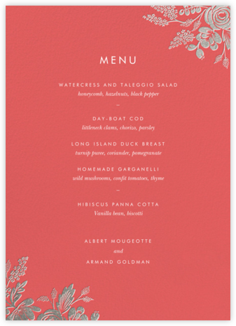 Heather and Lace (Menu) - Coral/Silver | null