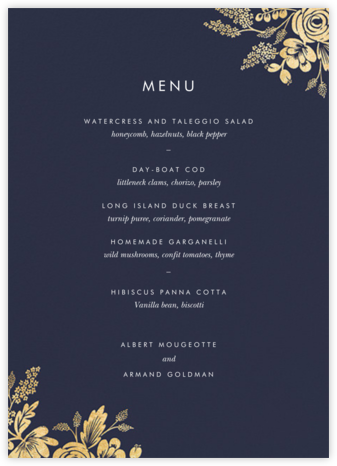 Heather and Lace (Menu) - Navy/Gold - Rifle Paper Co. - Wedding menus and programs - available in paper