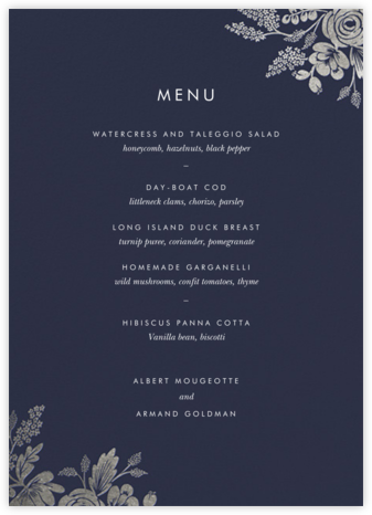 Heather and Lace (Menu) - Navy/Silver - Rifle Paper Co. -