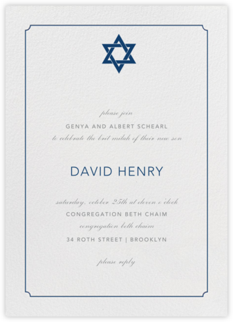 Indented Rounded Corners (Tall) - Blue - Paperless Post - Bris and baby naming invitations
