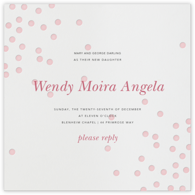 Pink Dots - Linda and Harriett - Christening Invitations