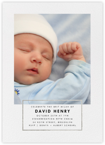 Placard - Silver - Paperless Post - Bris and baby naming invitations