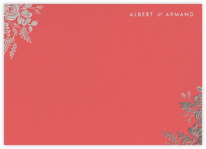Heather and Lace (Stationery) - Coral/Silver | null