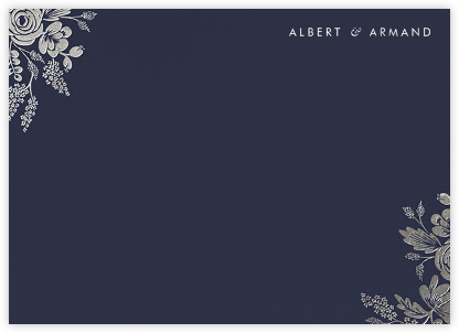 Heather and Lace (Stationery) - Navy/Silver - Rifle Paper Co. - Personalized Stationery
