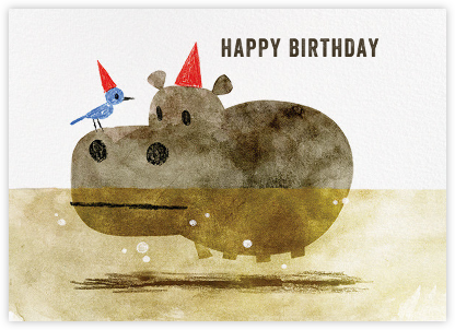 Bird and Hippo (Chris Sasaki) - Red Cap Cards - Birthday