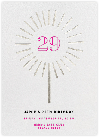 Year of the Sparkler - Silver/Ivory - Paperless Post - Adult Birthday Invitations