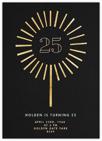 Year of the Sparkler - Gold/Black - Paperless Post - Adult Birthday Invitations
