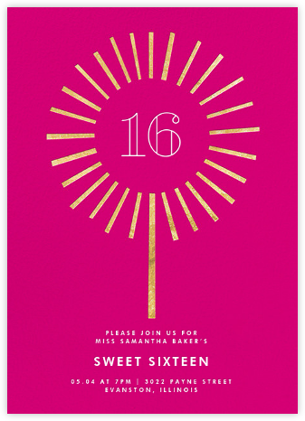 Year of the Sparkler - Gold/Pink - Paperless Post - Sweet 16 invitations