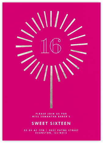 Year of the Sparkler - Silver/Pink - Paperless Post - Sweet 16 invitations