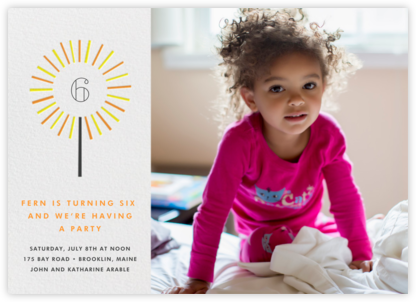 Year of the Sparkler (Photo) - Orange - Paperless Post - Online Kids' Birthday Invitations
