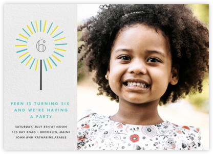 Year of the Sparkler (Photo) - Lagoon - Paperless Post - Online Kids' Birthday Invitations
