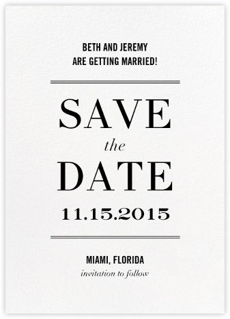 Typographic II (Save the Date) - White - kate spade new york - Save the dates