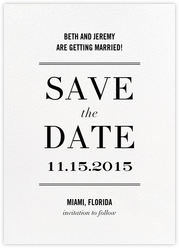 Typographic II (Save the Date) - White