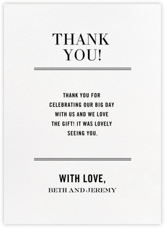 Typographic II (Stationery) - White - kate spade new york - Wedding thank you notes