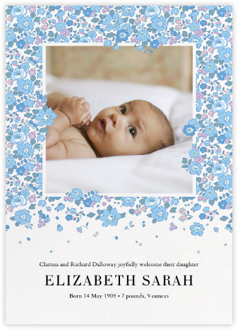 Betsy (Photo) - Light Blue - Liberty - Birth Announcements