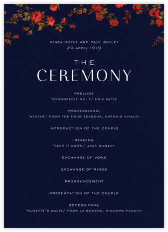 Elizabeth Moonlight (Program) - Liberty - Wedding menus and programs - available in paper