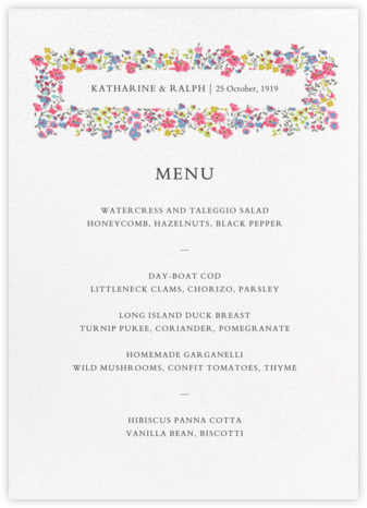 Phoebe (Menu) - Liberty - Liberty London wedding stationery