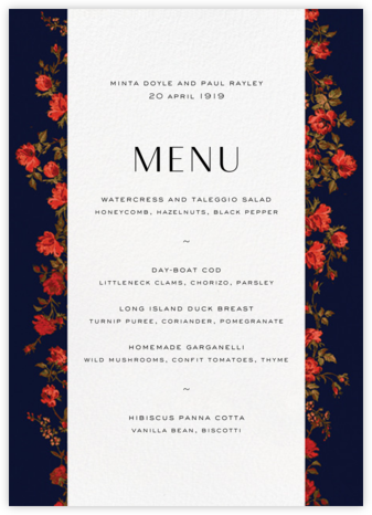 Elizabeth Moonlight (Menu) - Liberty - Liberty London wedding stationery