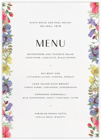 Archival Florals (Menu) - Liberty - Liberty London wedding stationery