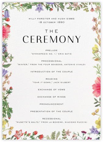 Archival Florals (Program) - Liberty - Wedding menus and programs - available in paper
