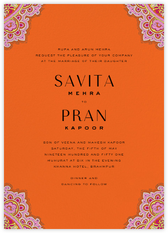 Lord Paisley Tana (Invitation) - Liberty - Indian Wedding Cards