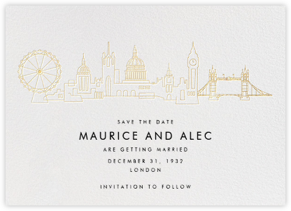 London Skyline View - White/Gold - Paperless Post - Before the invitation cards