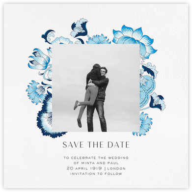 Lodden (Photo Save the Date) - Blue - Liberty - Liberty London wedding stationery