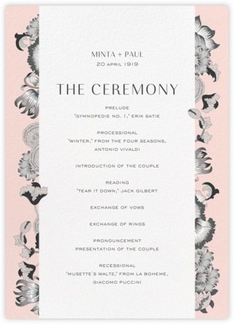 Lodden (Program) - Gray - Liberty - Liberty London wedding stationery
