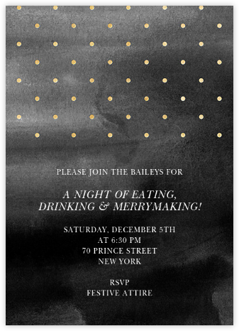Watercolor - Black/Gold - Paper + Cup - New Year's Eve Invitations