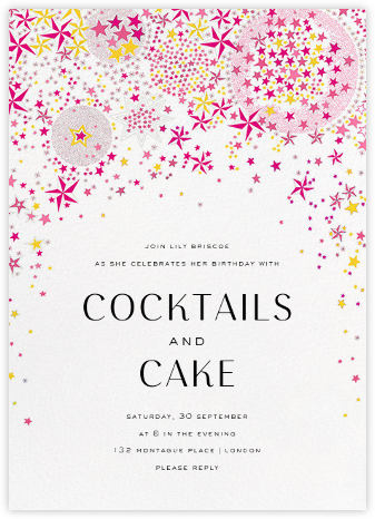 Adelajda - Pink - Liberty - Adult Birthday Invitations