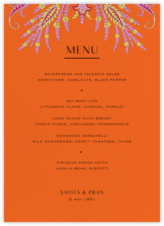 Lord Paisley Tana (Menu) - Liberty - Liberty London wedding stationery